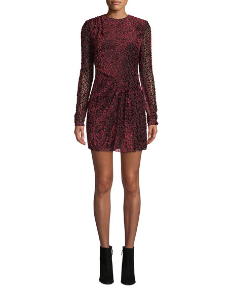 Jewel-Neck Long-Sleeve Leopard-Devore Mini Cocktail Dress