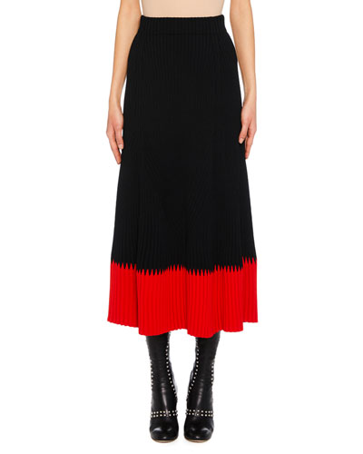 A-Line Long Ribbed Skirt w/ Contrast Top