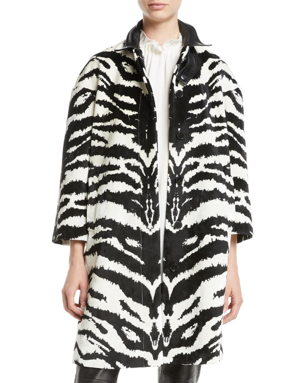 Alexander McQueen Button Front Zebra Print Velvet Jacquard Caban Jacket