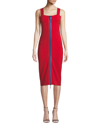 Zip-Up Square-Neck Sleeveless Fitted Midi Cami Dress