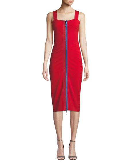 CUSHNIE Zip-Up Square-Neck Sleeveless Fitted Midi Cami Dress