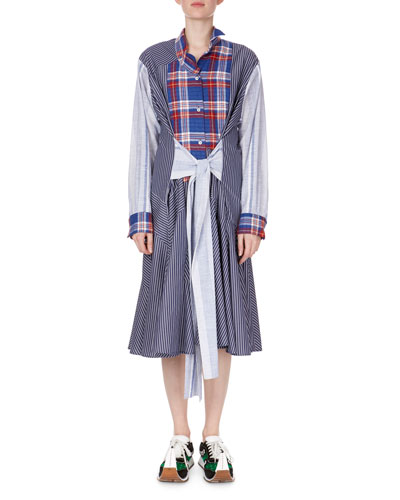 Long-Sleeve Tie-Waist Check & Stripe Combo Shirtdress