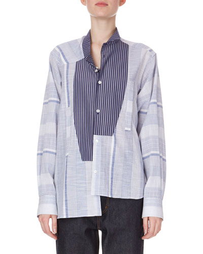 Long-Sleeve Button-Front Striped Cotton Shirt