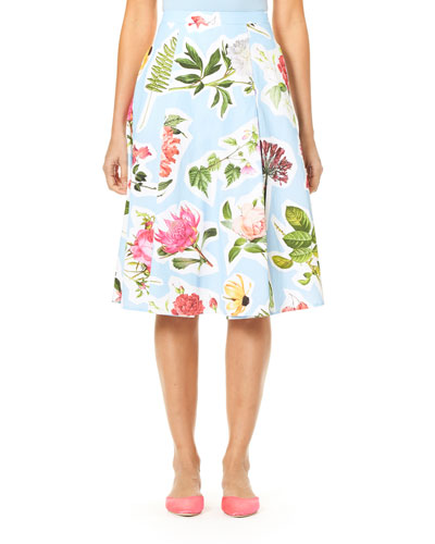 Floral Collage-Print Cotton Faille Full Skirt