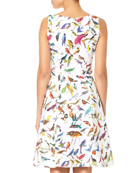 V-Neck A-Line Bird-Print Dress