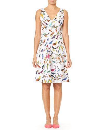 V-Neck A-Line Bird-Print Dress