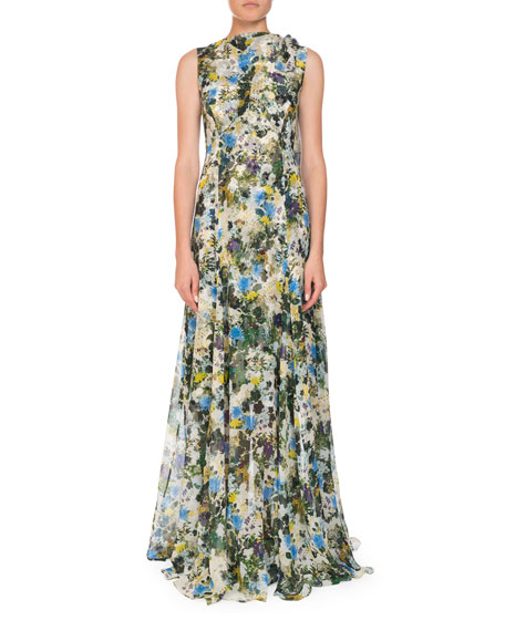 Image 1 of 1: Kassidy Meadow-Print Silk Tie-Shoulder Gown