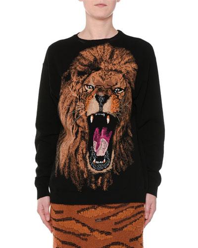 Oversize Lion Intarsia Sweater