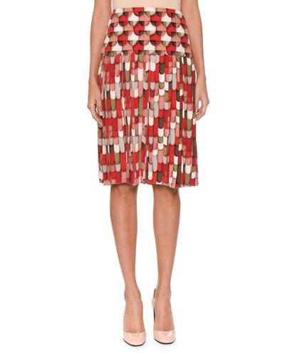 Geometric & Round-Print Knife-Pleat Silk Knee-Length Skirt
