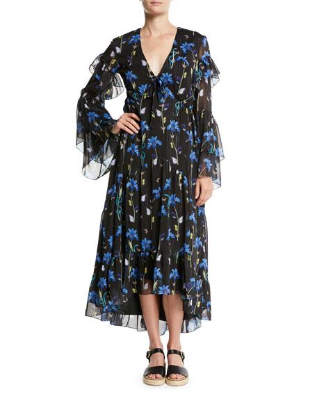 V-Neck Long-Sleeve Butterfly Iris Print High-Low Long Dress