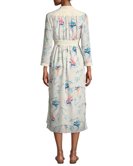 V-Neck Long-Sleeve Bird-Print A-Line Midi Dress