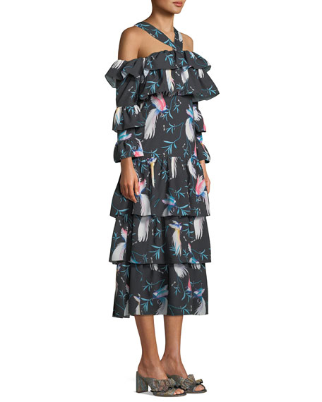 Halter-Neck Cold-Shoulder Bird-Print Tiered Ruffle Maxi Dress