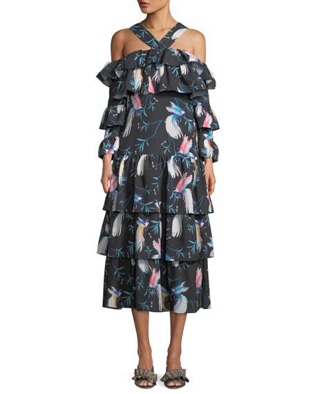 Halter-Neck Cold-Shoulder Bird-Print Tiered Ruffle Maxi Dress