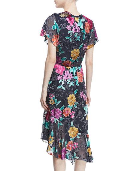 Floral Devore Asymmetric-Hem Dress