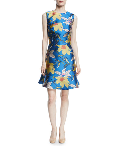 Sleeveless Jewel-Neck Flounce-Hem Lily Jacquard Dress