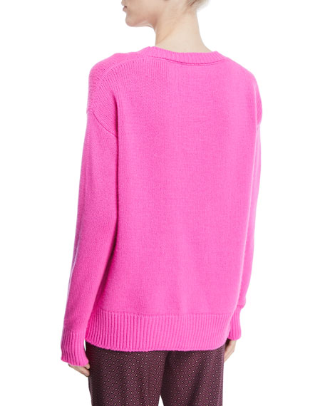 Crewneck Long-Sleeve Wool-Cashmere Sweater