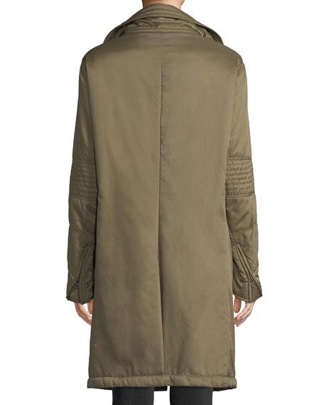 Stella Asymmetric Zip-Front Funnel-Collar Nylon Stadium Coat