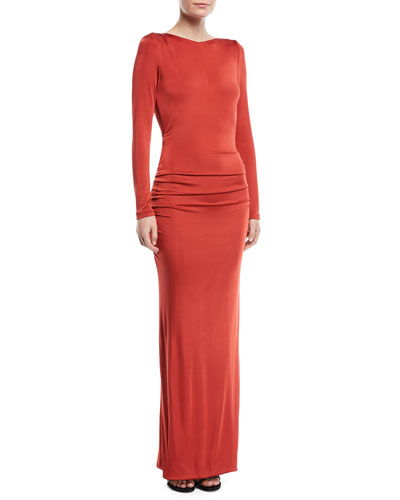 Long-Sleeve Draped Open-Back Fluid Jersey Evening Gown