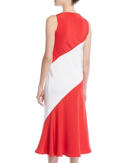 V-Neck Sleeveless Colorblocked A-Line Dress