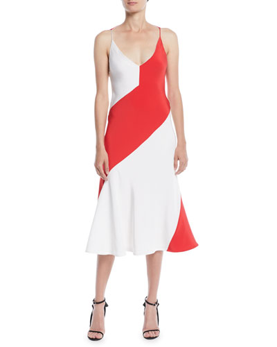 V-Neck Sleeveless Colorblocked A-Line Dress