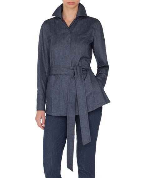Self-Belt Cashmere-Cotton Flannel Tunic Blouse