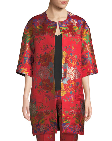 Chinoiserie Floral-Jacquard 3/4-Sleeve Topper Jacket in Yellow Print