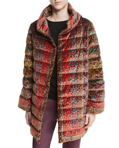 Reversible Paisley-Jacquard Velvet 3/4 Puffer Jacket
