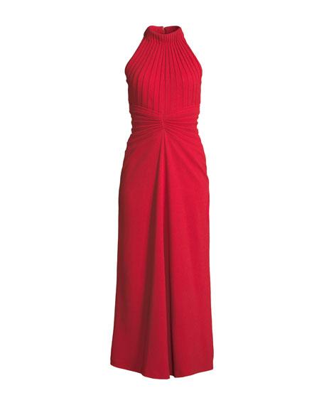 Sleeveless Pebble-Crepe Mirror Pleat Midi Dress