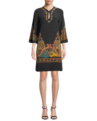 3/4-Sleeve Embroidered Shift Dress