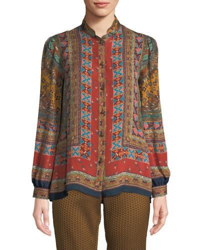 Long-Sleeve Button-Front Multi-Print Silk Blouse