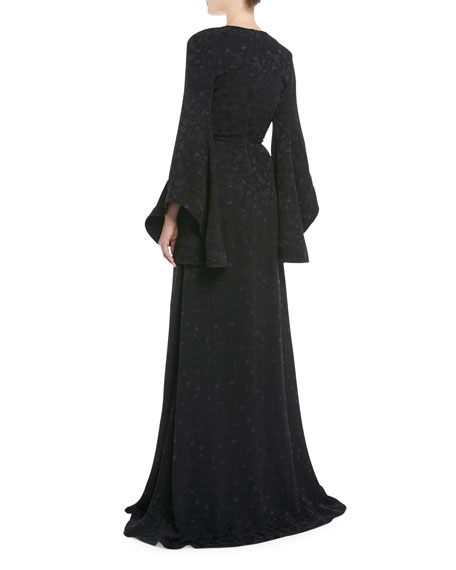 V-Neck Long-Sleeve Pineapple-Jacquard Front-Slit Evening Gown