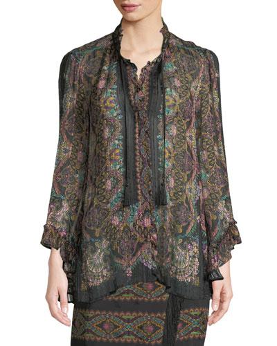 Tassel-Tie Long-Sleeve Damask-Print Silk Ribbon Blouse