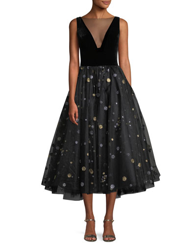 Illusion-Neck Velvet-Bodice Glitter-Dot Tulle Cocktail Dress