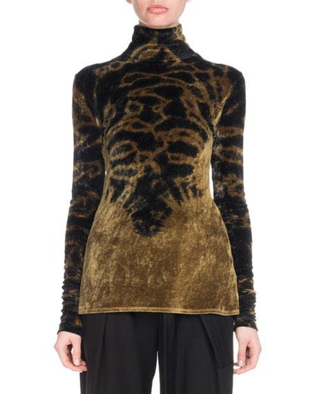 Turtleneck Long-Sleeve Degradé Velvet Jersey Top