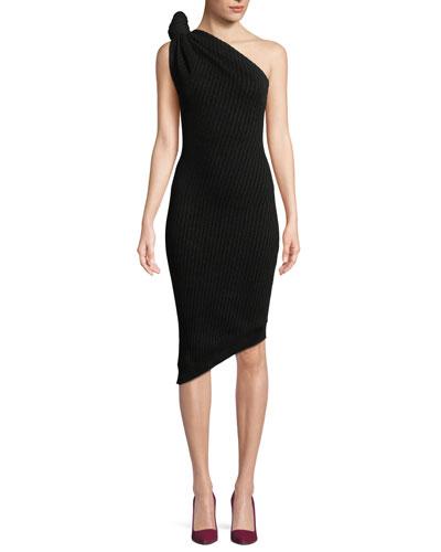 Knotted One-Shoulder Ribbed-Knit Short Dress