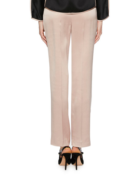 Silk Satin Straight-Leg Pants