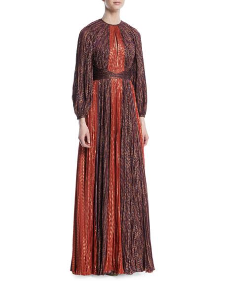 Metallic Chiffon Pleated Long-Sleeve Gown