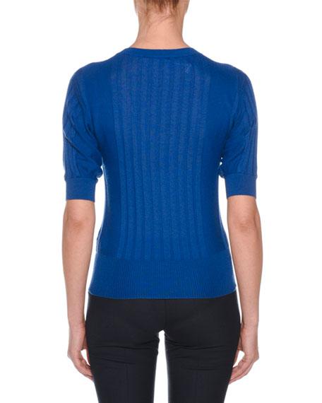 Crewneck Short-Sleeve Superfine Cashmere Sweater