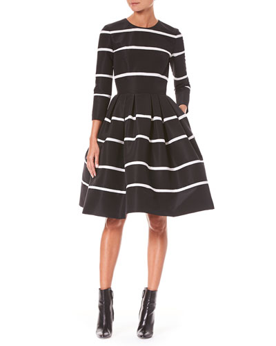 Three-Quarter Sleeve Fit-and-Flare Striped Cocktail Dress