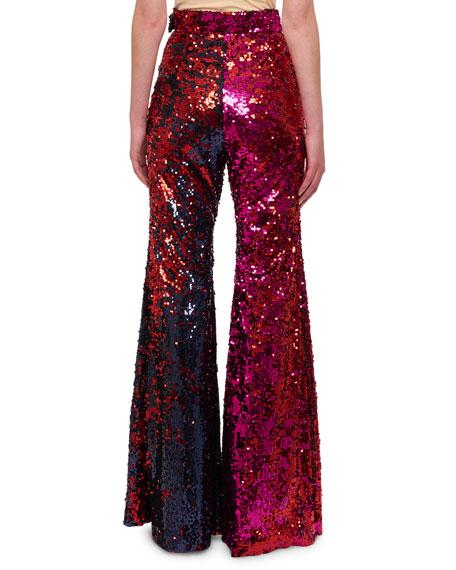 High-Waist Flared-Leg Sequin Pants