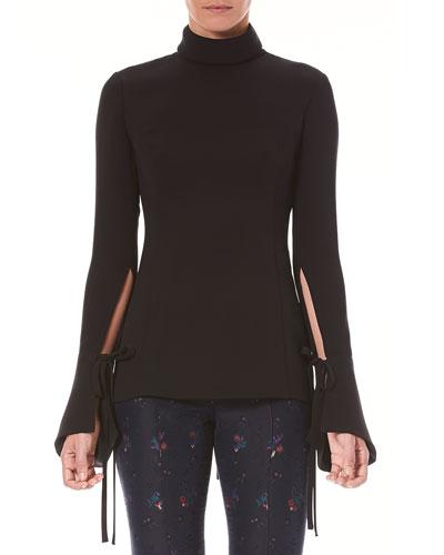 Long-Sleeve Turtleneck Silk Blouse w/ Tie-Details