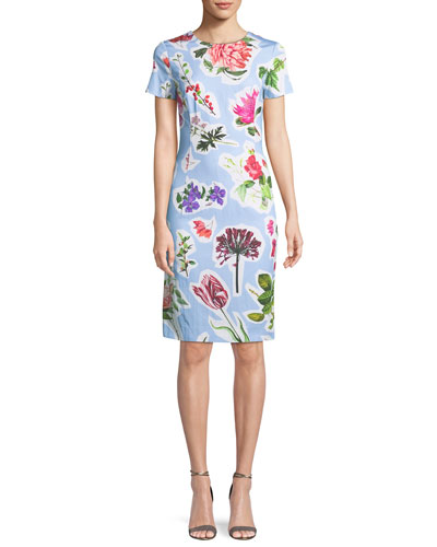 Crewneck Short-Sleeve Floral-Print Daytime Sheath Dress