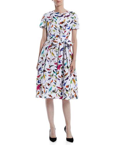 Short-Sleeve Bird-Print Cotton Knee-Length Shirtdress