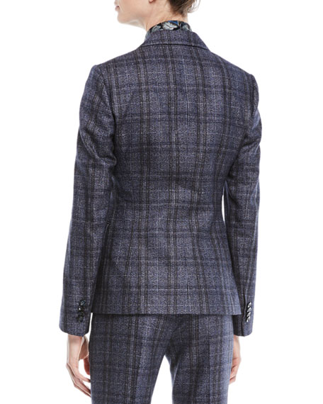 One-Button Plaid Cashmere-Blend Jacket