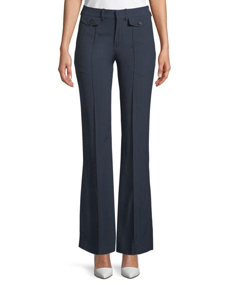 Two-Pocket Mid-Rise Flared-Leg Pants