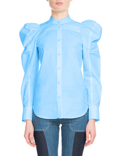 Puff-Sleeve Button-Front Cotton Top