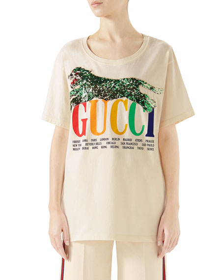 Gucci Cities Crewneck Short-Sleeve Cotton T-Shirt with Sequined