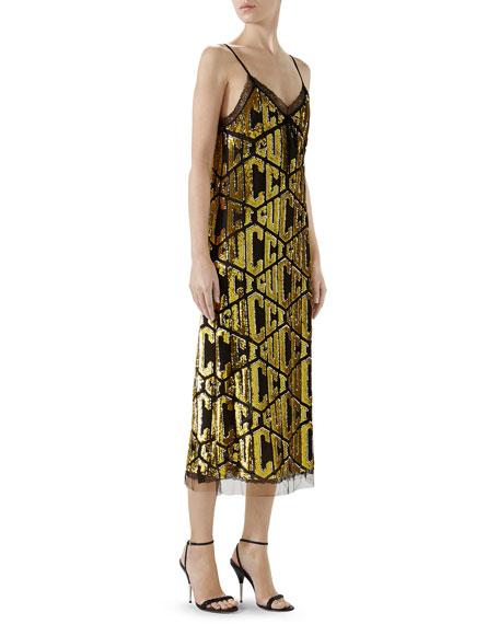 V-Neck Sleeveless Logo-Sequined Tulle Slip Cocktail Dress w/ Lace