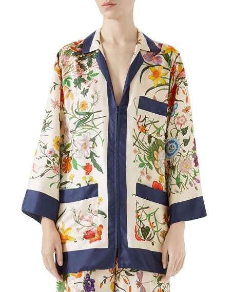 Floral-Print Zip-Front Silk Twill Pajama Top, Blue