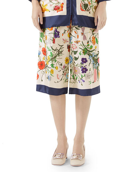Floral-Print Silk Twill Cropped Pajama Culottes in White